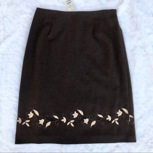 NEW Ann Taylor Stretch Brown Floral Pencil Skirt 6